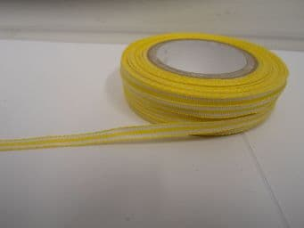Canary Yellow pencil stripe ribbon 2 metres or full roll (25 metres) 5mm 10mm double sided